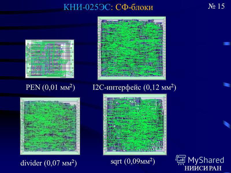 15 НИИСИ РАН PEN (0,01 мм 2 )I2С-интерфейс (0,12 мм 2 ) divider (0,07 мм 2 ) sqrt (0,09 мм 2 ) КНИ-025ЭС: СФ-блоки