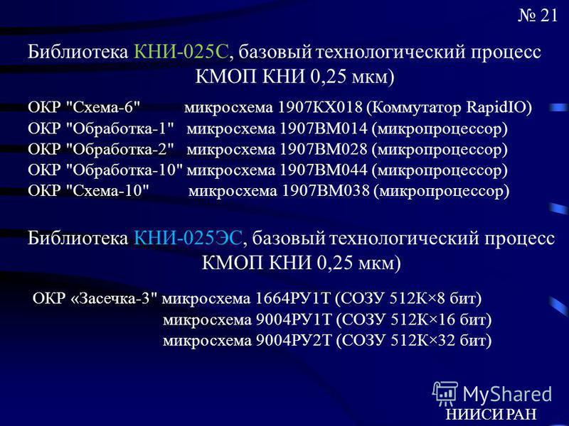 НИИСИ РАН 21 Библиотека КНИ-025С, базовый технологический процесс КМОП КНИ 0,25 мкм) ОКР
