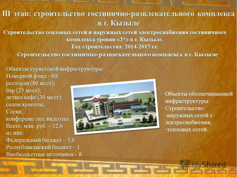 Строительство тепловых сетей и наружных сетей электроснабжения гостиничного комплекса уровня «3*» в г. Кызыле. Год строительства: 2014-2015 гг. III этап: строительство гостинично-развлекательного комплекса в г. Кызыле Строительство гостинично-развлек