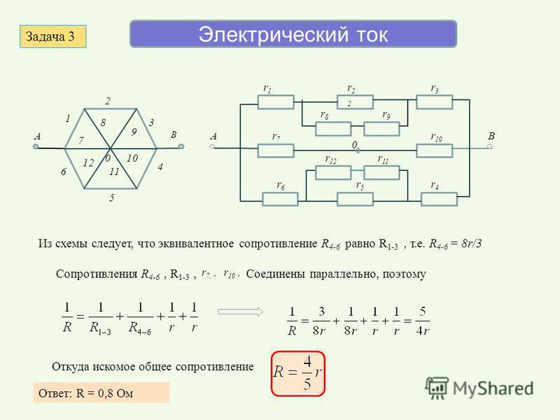 Электрический ток 1 2 3 4 5 6 7 8 9 10 11 12 0 A B r1r1 r22r22 r4r4 r3r3 r6r6 r5r5 r 12 r9r9 r 10 r8r8 r7r7 r 11 AB 0 Задача 3 Сопротивления R 4-6, R 1-3, r 10,r 7., Соединены параллельно, поэтому Откуда искомое общее сопротивление Ответ: R = 0,8 Ом