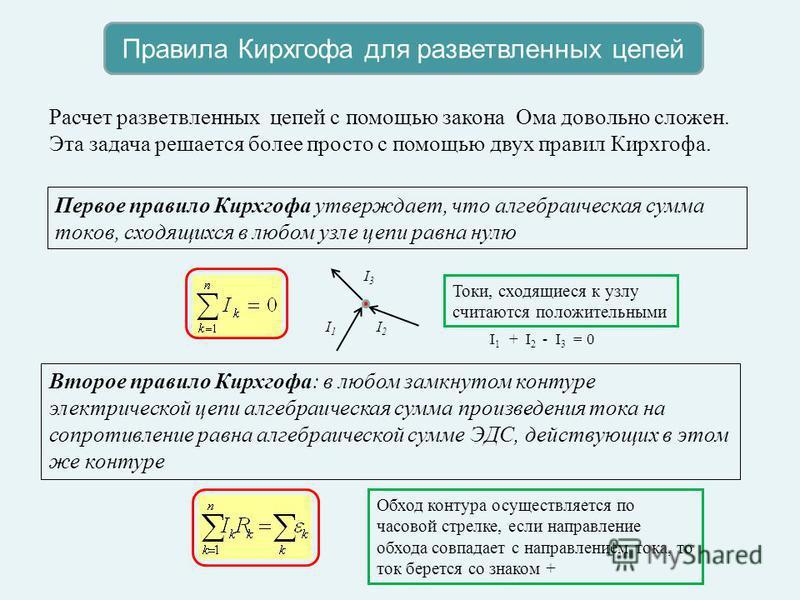 Правила Кирхгофа для разветвленных цепей Расчет разветвленных цепей с помощью закона Ома довольно сложен. Эта задача решается более просто с помощью двух правил Кирхгофа. Первое правило Кирхгофа утверждает, что алгебраическая сумма токов, сходящихся