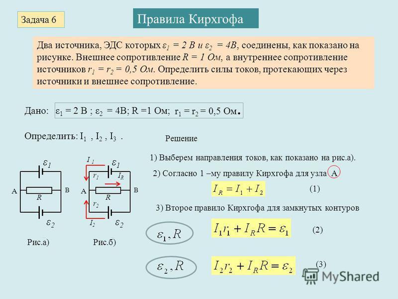 Задача 6 Правила Кирхгофа Два источника, ЭДС которых ε 1 = 2 В и ε 2 = 4В, соединены, как показано на рисунке. Внешнее сопротивление R = 1 Ом, а внутреннее сопротивление источников r 1 = r 2 = 0,5 Ом. Определить силы токов, протекающих через источник