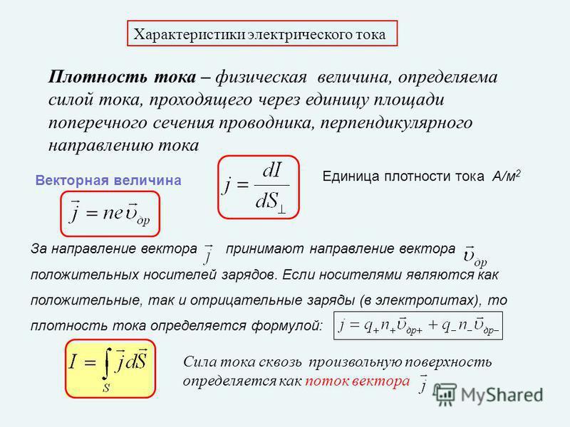 Характеристики электрического тока Плотность тока – физическая величина, определяема силой тока, проходящего через единицу площади поперечного сечения проводника, перпендикулярного направлению тока Единица плотности тока А/м 2 Векторная величина За н