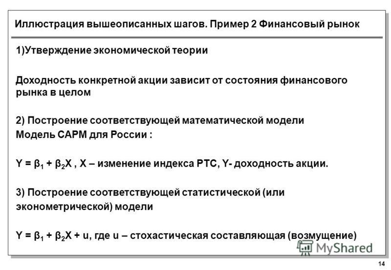 14 Иллюстрация вышеописанных шагов. Пример 2 Финансовый рынок 1)Утверждение экономической теории Доходность конкретной акции зависит от состояния финансового рынка в целом 2) Построение соответствующей математической модели Модель САРМ для России : Y