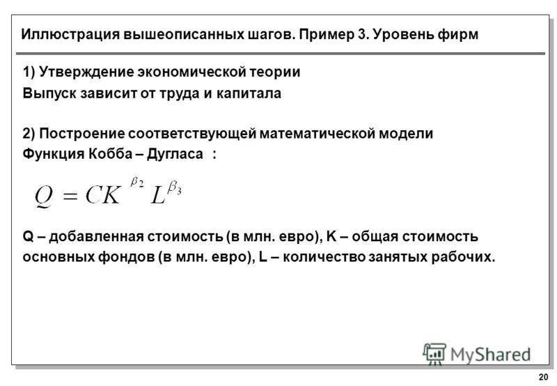 20 Иллюстрация вышеописанных шагов. Пример 3. Уровень фирм 1) Утверждение экономической теории Выпуск зависит от труда и капитала 2) Построение соответствующей математической модели Функция Кобба – Дугласа : Q – добавленная стоимость (в млн. евро), K