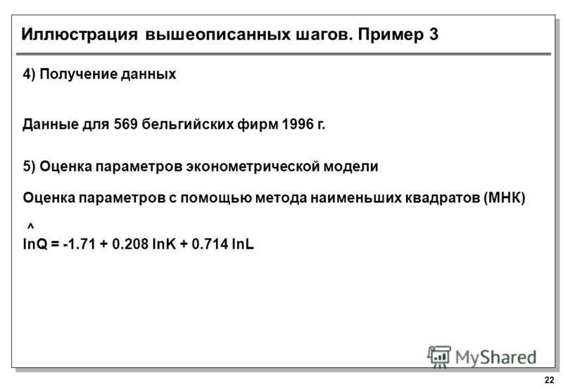 22 Иллюстрация вышеописанных шагов. Пример 3 4) Получение данных Данные для 569 бельгийских фирм 1996 г. 5) Оценка параметров эконометрической модели Оценка параметров с помощью метода наименьших квадратов (МНК) ^ lnQ = -1.71 + 0.208 lnK + 0.714 lnL