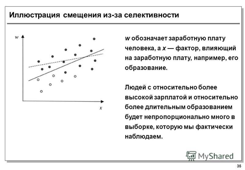 35 Иллюстрация смещения из-за селективности w обозначает заработную плату человека, а x фактор, влияющий на заработную плату, например, его образование. Людей с относительно более высокой зарплатой и относительно более длительным образованием будет н