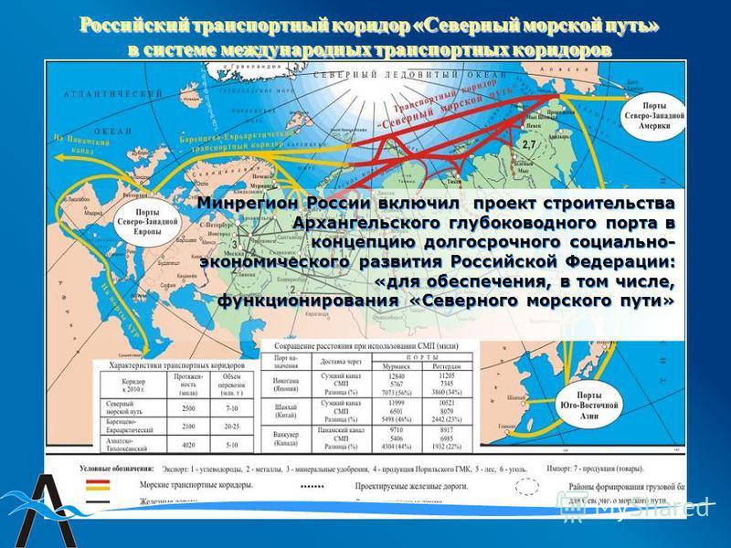 Российский транспортный коридор «Северный морской путь» в системе международных транспортных коридоров Минрегион России включил проект строительства Архангельского глубоководного порта в концепцию долгосрочного социально- экономического развития Росс