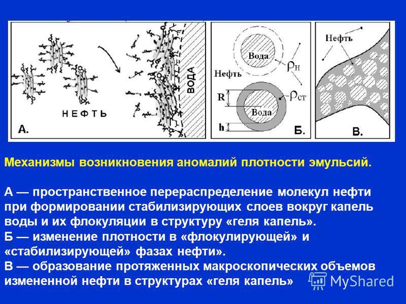 Механизмы возникновения аномалий плотности эмульсий. А пространственное перераспределение молекул нефти при формировании стабилизирующих слоев вокруг капель воды и их флокуляции в структуру «геля капель». Б изменение плотности в «флокулирующей» и «ст