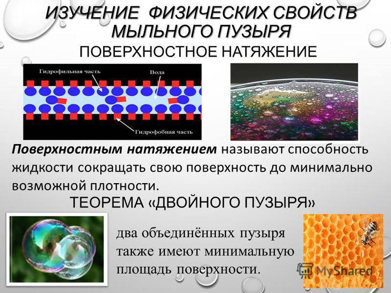 ПОВЕРХНОСТНОЕ НАТЯЖЕНИЕ ИЗУЧЕНИЕ ФИЗИЧЕСКИХ СВОЙСТВ МЫЛЬНОГО ПУЗЫРЯ Поверхностным натяжением называют способность жидкости сокращать свою поверхность до минимально возможной плотности. ТЕОРЕМА « ДВОЙНОГО ПУЗЫРЯ » два объединённых пузыря также имеют м