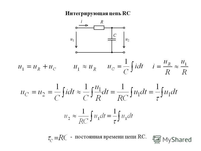 Интегрирующая цепь RC - постоянная времени цепи RC. u1u1 u2u2 C R i