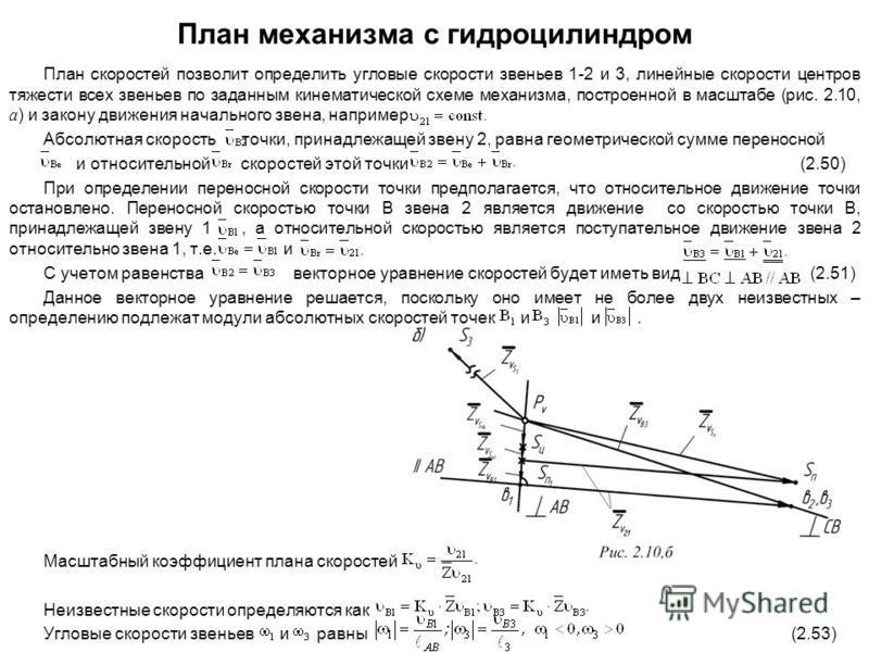 План механизма с гидроцилиндром План скоростей позволит определить угловые скорости звеньев 1-2 и 3, линейные скорости центров тяжести всех звеньев по заданным кинематической схеме механизма, построенной в масштабе (рис. 2.10, а ) и закону движения н