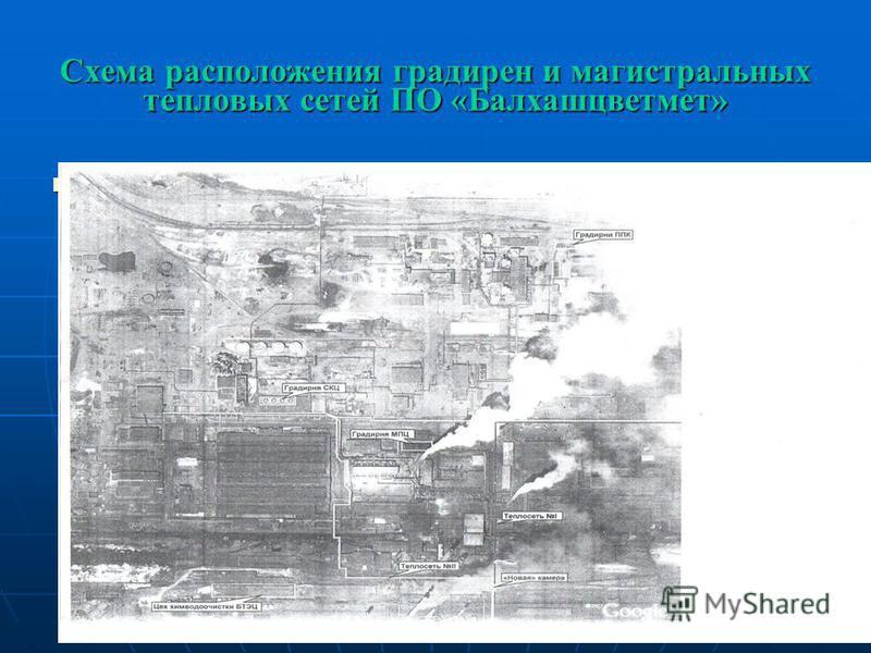 Схема расположения градирен и магистральных тепловых сетей ПО «Балхашцветмет»