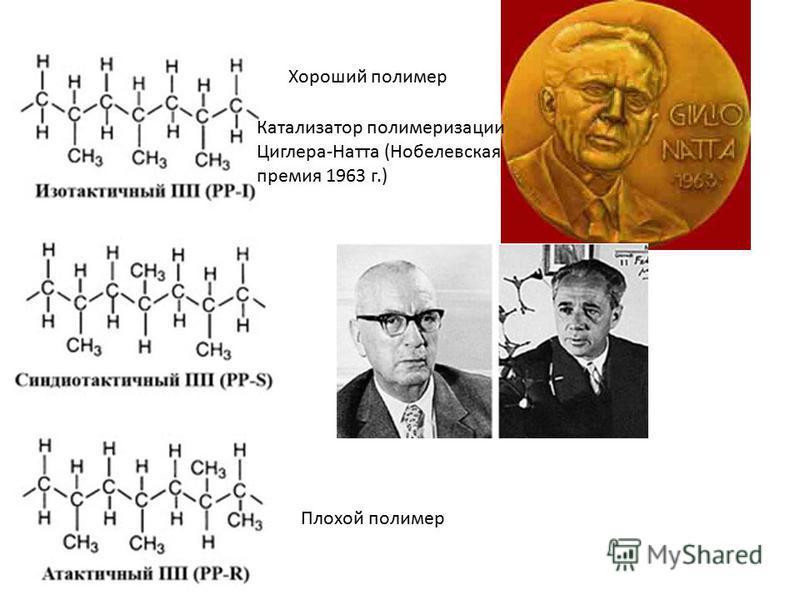 Хороший полимер Плохой полимер Катализатор полимеризации Циглера-Натта (Нобелевская премия 1963 г.)