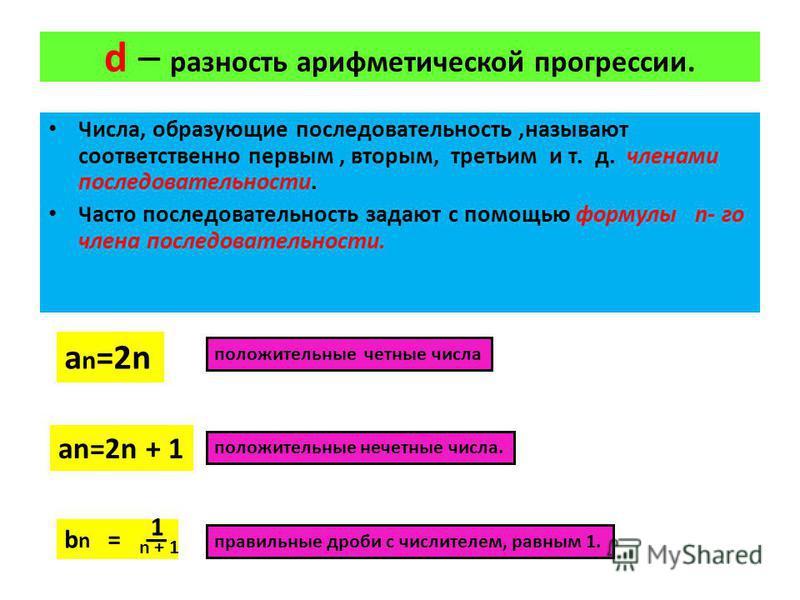 d – разность арифметической прогрессии. Числа, образующие последовательность,называют соответственно первым, вторым, третьим и т. д. членами последовательности. Часто последовательность задают с помощью формулы n- го члена последовательности. a n =2n