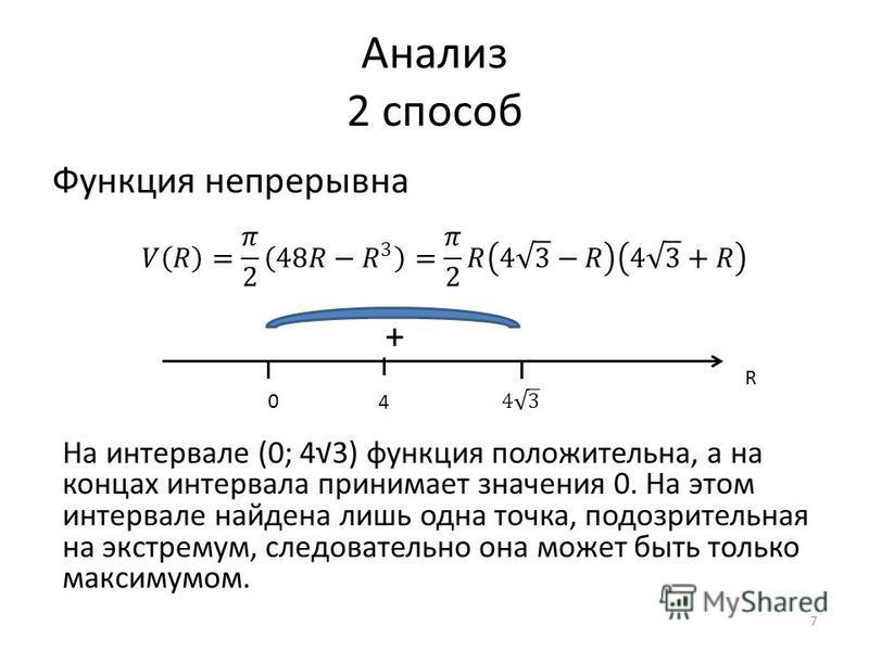 Анализ 2 способ Функция непрерывна R 4 0 + На интервале (0; 43) функция положительна, а на концах интервала принимает значения 0. На этом интервале найдена лишь одна точка, подозрительная на экстремум, следовательно она может быть только максимумом.