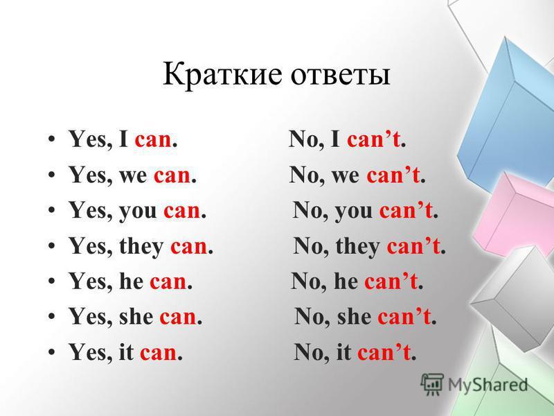 Краткие ответы Yes, I can. No, I cant. Yes, we can. No, we cant. Yes, you can. No, you cant. Yes, they can. No, they cant. Yes, he can. No, he cant. Yes, she can. No, she cant. Yes, it can. No, it cant.