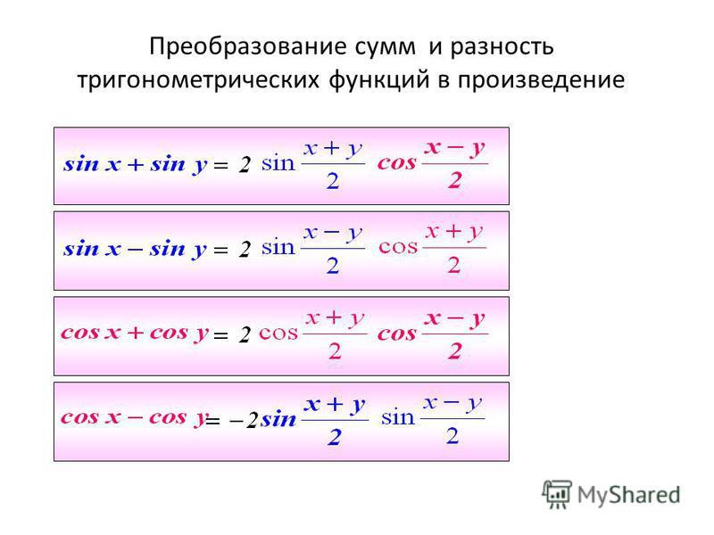 содержание Преобразование сумм и разность тригонометрических функций в произведение