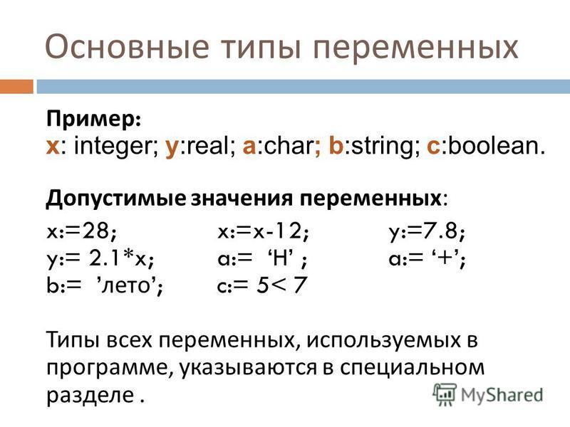 Основные типы переменных Пример : x: integer; y:real; a:char; b:string; c:boolean. Допустимые значения переменных : x:=28; x:=x-12;y:=7.8; y:= 2.1*x; a:= H ; a:= +; b:= лето ;c:= 5< 7 Типы всех переменных, используемых в программе, указываются в спец