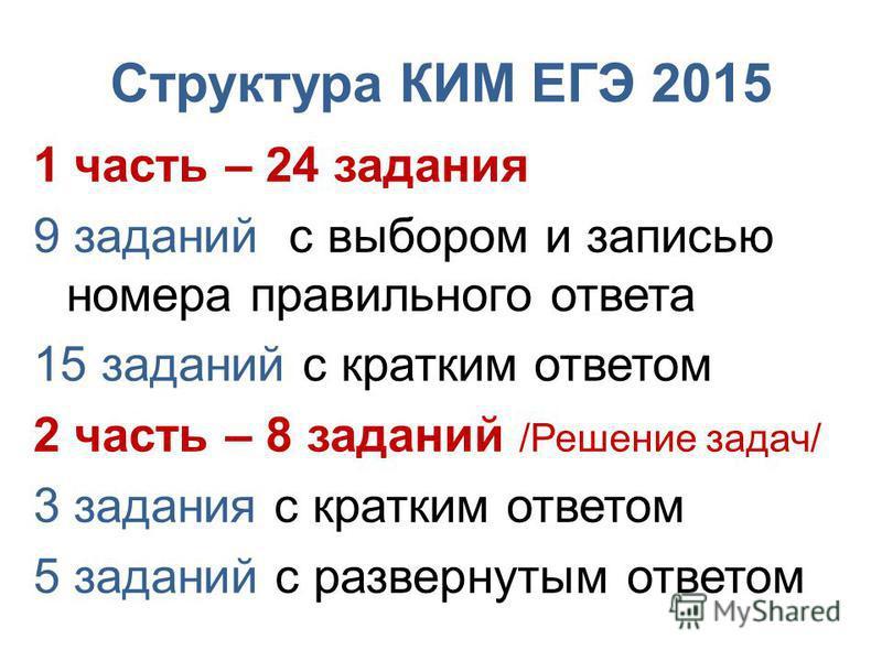 Структура КИМ ЕГЭ 2015 1 часть – 24 задания 9 заданий с выбором и записью номера правильного ответа 15 заданий с кратким ответом 2 часть – 8 заданий /Решение задач/ 3 задания с кратким ответом 5 заданий с развернутим ответом