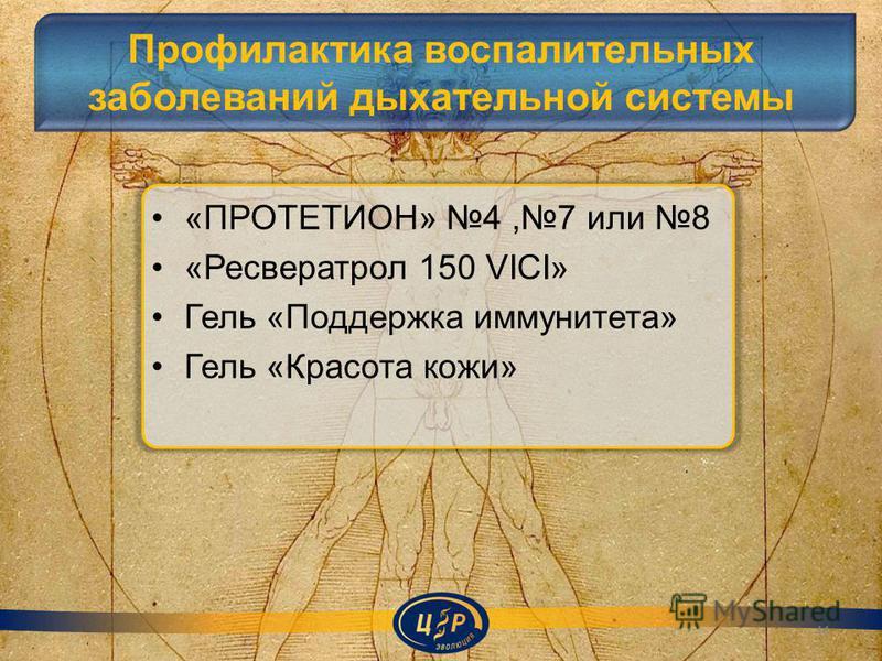 Профилактика воспалительных заболеваний дыхательной системы «ПРОТЕТИОН» 4,7 или 8 «Ресвератрол 150 VICI» Гель «Поддержка иммунитета» Гель «Красота кожи» 44