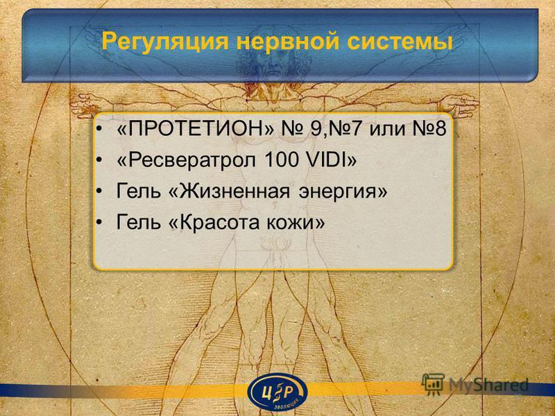 Регуляция нервной системы «ПРОТЕТИОН» 9,7 или 8 «Ресвератрол 100 VIDI» Гель «Жизненная энергия» Гель «Красота кожи» 49