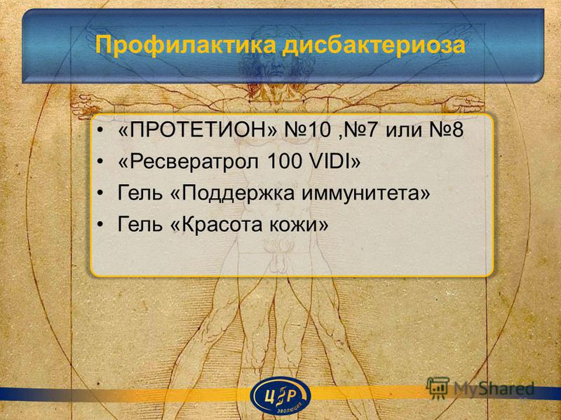 Профилактика дисбактериоза «ПРОТЕТИОН» 10,7 или 8 «Ресвератрол 100 VIDI» Гель «Поддержка иммунитета» Гель «Красота кожи» 50
