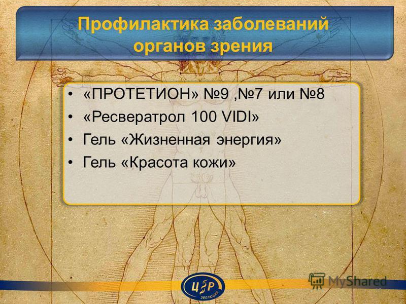 Профилактика заболеваний органов зрения «ПРОТЕТИОН» 9,7 или 8 «Ресвератрол 100 VIDI» Гель «Жизненная энергия» Гель «Красота кожи» 51