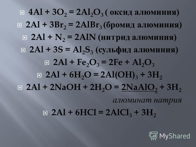 4Al + 3O 2 = 2Al 2 O 3 ( оксид алюминия ) 2Al + 3Br 2 = 2AlBr 3 ( бромид алюминия ) 2Al + N 2 = 2AlN ( нитрид алюминия ) 2Al + 3S = Al 2 S 3 ( сульфид алюминия ) 2Al + Fe 2 O 3 = 2Fe + Al 2 O 3 2Al + 6H 2 O = 2Al(OH) 3 + 3H 2 2Al + 2NaOH + 2H 2 O = 2