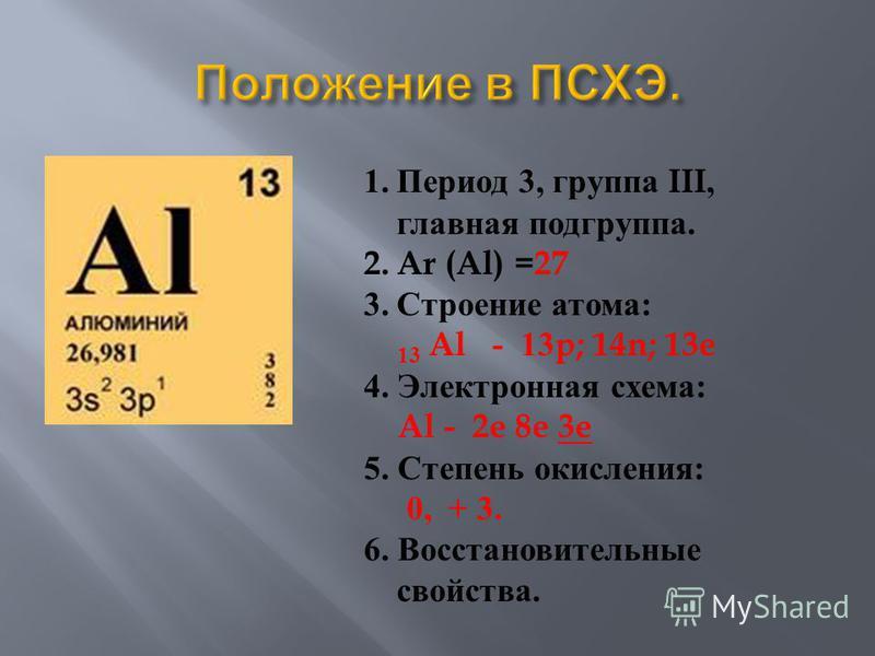 1. Период 3, группа III, главная подгруппа. 2. Ar (Al) =27 3. Строение атома : 13 Al - 13p; 14n; 13e 4. Электронная схема : Al - 2e 8e 3e 5. Степень окисления : 0, + 3. 6. Восстановительные свойства.