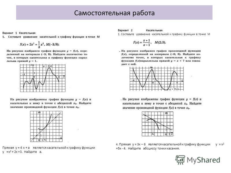 Самостоятельная работа Вариант 1 Касательная 1. Составьте уравнение касательной к графику функции в точке М Прямая у = 6 х + a является касательной к графику функции y =x 2 + 2x +3. Найдите а. Вариант 2 Касательная 1. Составьте уравнение касательной