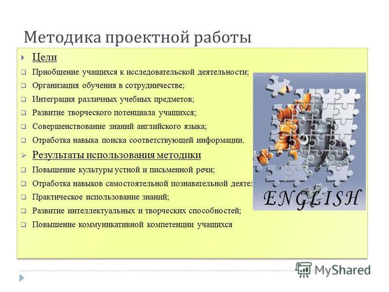 Методика проектной работы Цели Приобщение учащихся к исследовательской деятельности; Организация обучения в сотрудничестве; Интеграция различных учебных предметов; Развитие творческого потенциала учащихся; Совершенствование знаний английского языка;