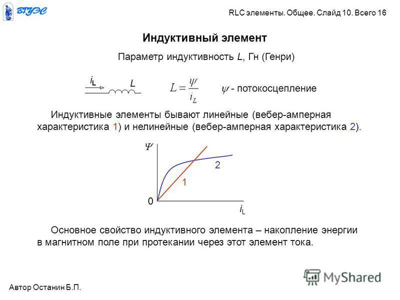 Индуктивный элемент Параметр индуктивность L, Гн (Генри) Индуктивные элементы бывают линейные (вебер-амперная характеристика 1) и нелинейные (вебер-амперная характеристика 2). iLiL 0 1 2 Основное свойство индуктивного элемента – накопление энергии в