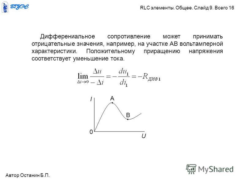 A B I U 0 Дифферениальное сопротивление может принимать отрицательные значения, например, на участке АВ вольтамперной характеристики. Положительному приращению напряжения соответствует уменьшение тока. Автор Останин Б.П. RLC элементы. Общее. Слайд 9.
