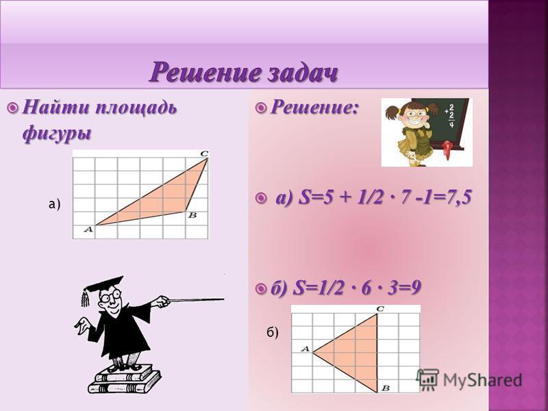 а)Найти периметр трапеции а)Найти периметр трапеции б) найдите площадь б) найдите площадь трапеции. Решение: а)P=9+12+13+ Решение: а)P=9+12+13+ +169-144 +12+144+81 =66 б) S=1/2(3+3+ б) S=1/2(3+3+ 32-16)4=20 а)а) б)