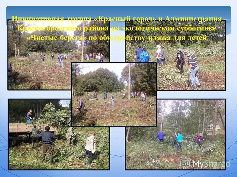 Инициативная группа «Красный город» и Администрация Красногородского района на экологическом субботнике «Чистые берега» по обустройству пляжа для детей