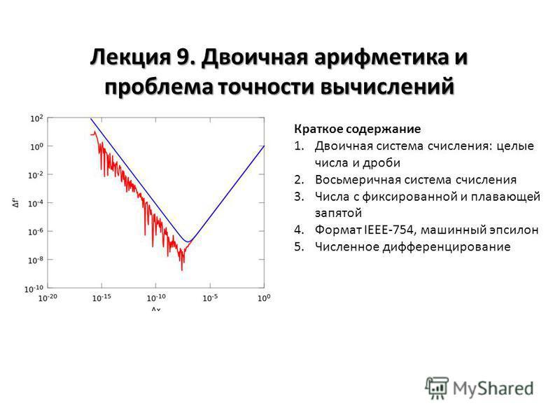 Лекция 9. Двоичная арифметика и проблема точности вычислений Краткое содержание 1. Двоичная система счисления: целые числа и дроби 2. Восьмеричная система счисления 3. Числа с фиксированной и плавающей запятой 4. Формат IEEE-754, машинный эпсилон 5.