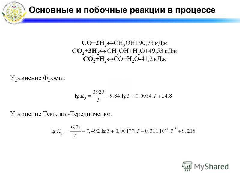 Основные и побочные реакции в процессе СО+2Н 2 СН 3 ОН+90,73 к Дж СО 2 +3Н 2 СН 3 ОН+Н 2 О+49,53 к Дж СО 2 +Н 2 СО+Н 2 О-41,2 к Дж