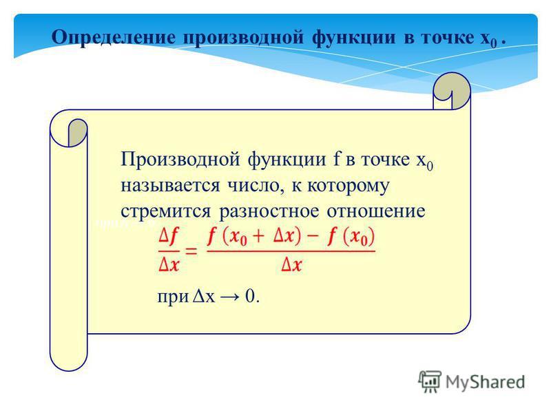 Определение производной функции в точке х 0. при Δ 0. Производной функции f в точке х 0 называется число, к которому стремится разностное отношение при Δх 0.