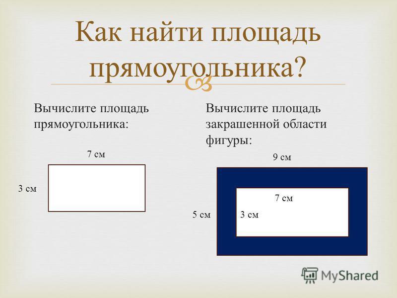 Как найти площадь прямоугольника ? Вычислите площадь прямоугольника : Вычислите площадь закрашенной области фигуры : 7 см 3 см 7 см 3 см 9 см 5 см