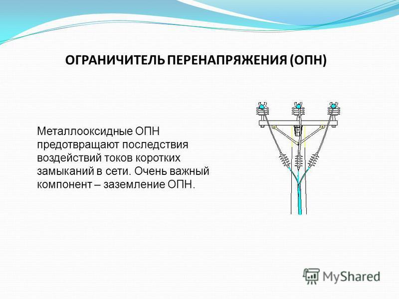 ОГРАНИЧИТЕЛЬ ПЕРЕНАПРЯЖЕНИЯ (ОПН) Металлооксидные ОПН предотвращают последствия воздействий токов коротких замыканий в сети. Очень важный компонент – заземление ОПН.