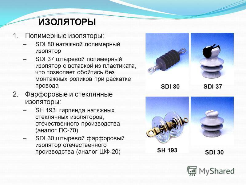 ИЗОЛЯТОРЫ 1. Полимерные изоляторы: –SDI 80 натяжной полимерный изолятор –SDI 37 штыревой полимерный изолятор с вставкой из пластиката, что позволяет обойтись без монтажных роликов при раскатке провода 2. Фарфоровые и стеклянные изоляторы: –SH 193 гир