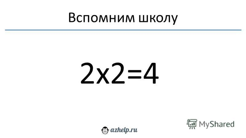 Вспомним школу 2 х 2=4