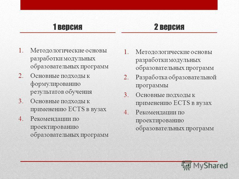 1 версия 1. Методологические основы разработки модульных образовательных программ 2. Основные подходы к формулированию результатов обучения 3. Основные подходы к применению ECTS в вузах 4. Рекомендации по проектированию образовательных программ 2 вер