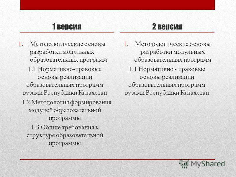1 версия 1. Методологические основы разработки модульных образовательных программ 1.1 Нормативно-правовые основы реализации образовательных программ вузами Республики Казахстан 1.2 Методология формирования модулей образовательной программы 1.3 Общие