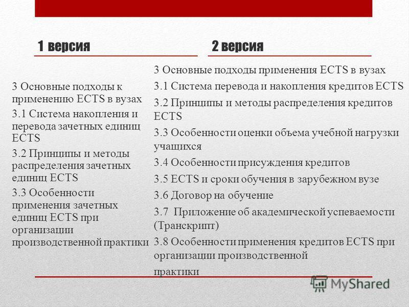 1 версия 3 Основные подходы к применению ECTS в вузах 3.1 Система накопления и перевода зачетных единиц ECTS 3.2 Принципы и методы распределения зачетных единиц ECTS 3.3 Особенности применения зачетных единиц ECTS при организации производственной пра