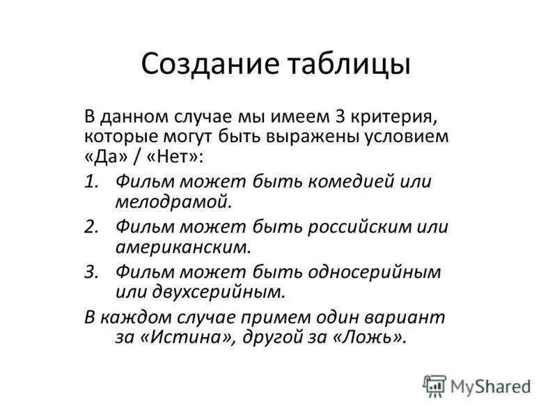 Создание таблицы В данном случае мы имеем 3 критерия, которые могут быть выражены условием «Да» / «Нет»: 1. Фильм может быть комедией или мелодрамой. 2. Фильм может быть российским или американским. 3. Фильм может быть одно серийным или двухсерийным.