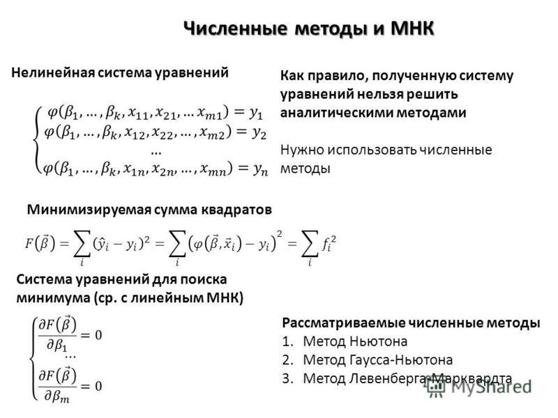 Численные методы и МНК Рассматриваемые численные методы 1. Метод Ньютона 2. Метод Гаусса-Ньютона 3. Метод Левенберга-Марквардта Нелинейная система уравнений Минимизируемая сумма квадратов Система уравнений для поиска минимума (ср. с линейным МНК) Как