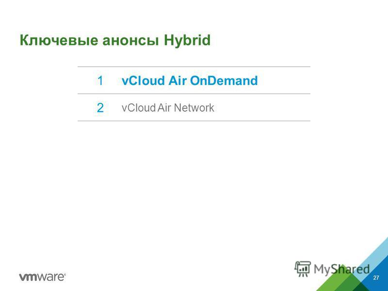 Ключевые анонсы Hybrid 1vCloud Air OnDemand 2 vCloud Air Network 27