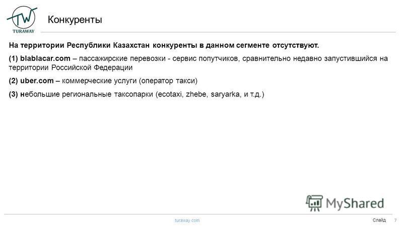 Конкуренты Слайд 7 turaway.com На территории Республики Казахстан конкуренты в данном сегменте отсутствуют. (1) blablacar.com – пассажирские перевозки - сервис попутчиков, сравнительно недавно запустившийся на территории Российской Федерации (2) uber